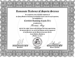 certified running may